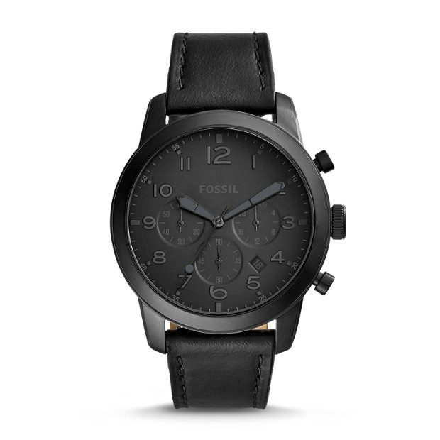 Pilot 54 Chronograph Black Leather Watch - Fossil