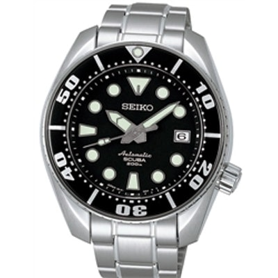 Seiko Sumo Prospex Automatic Dive Watch with Black Dial and Stainless Steel Brac