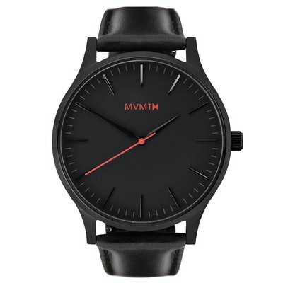 The 40 - Black/Black Leather  MVMT Watch