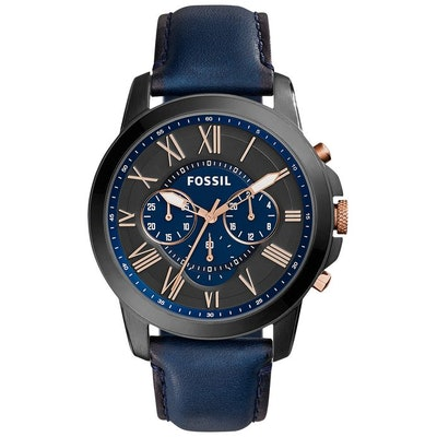 Fossil Men's FS5061 Grant Black Stainless Steel Watch with Blue Leat
