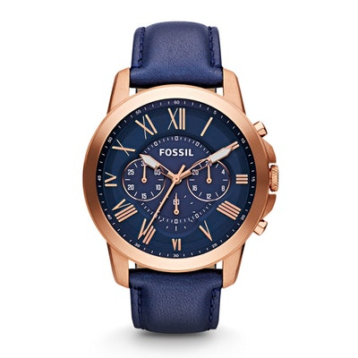 Grant Chronograph Navy Leather Watch - Fossil