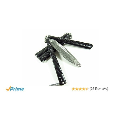 Amazon.com : Damascus Practice Metal Practice Balisong Butterfly Knife Martial A