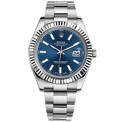 Rolex Oyster Perpetual Datejust 41 Watch Blue dial, Stainless Steel, Fluted beze