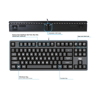 Adesso EasyTouch 625 - Compact Mechanical Gaming Keyboard-Adesso® EasyTouch 625