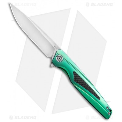 """Rike Knife 803CHG Kwaiken Frame Lock Knife Green Titanium/CF (3.6"""" Satin) - Blad"""