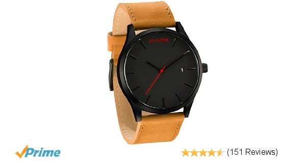 Amazon.com: MVMT Watches Black Face with Tan Leather Strap Men's Watch: Mvmt: Wa