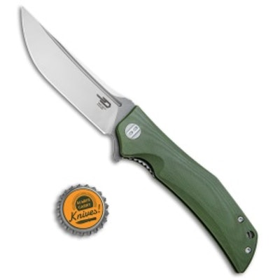 """Bestech Knives Scimitar Liner Lock Knife Green G-10 (3.75"""" Satin, Gray)   - Blad"""