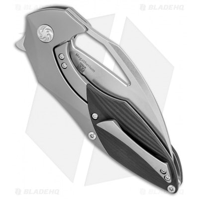 """Kizer Isham Megatherium Frame Lock Knife Carbon Fiber (3.6"""" Stonewash) Ki4502 -"""