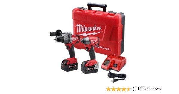 Milwaukee 2797-22 M18 Fuel Lithium 2-Tool Combo Kit includes Hammer Drill and He