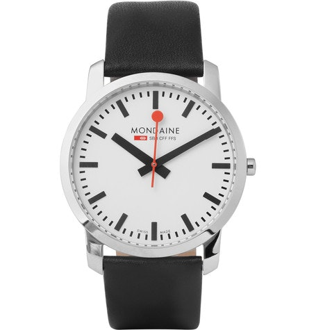 Mondaine - Simply Elegant Stainless Steel and Leather Watch