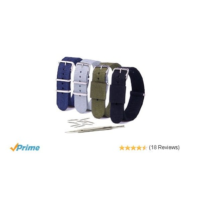 Vetoo 22mm Watch Bands, Classic Nylon Replacement Watch Strap with Stainless Ste