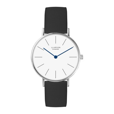 LUKA · Steel watch with black leather