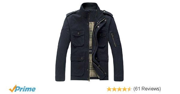 JYG Men's Casual Military Windbreaker Jacket Cotton Stand Collar Field Coat Oute