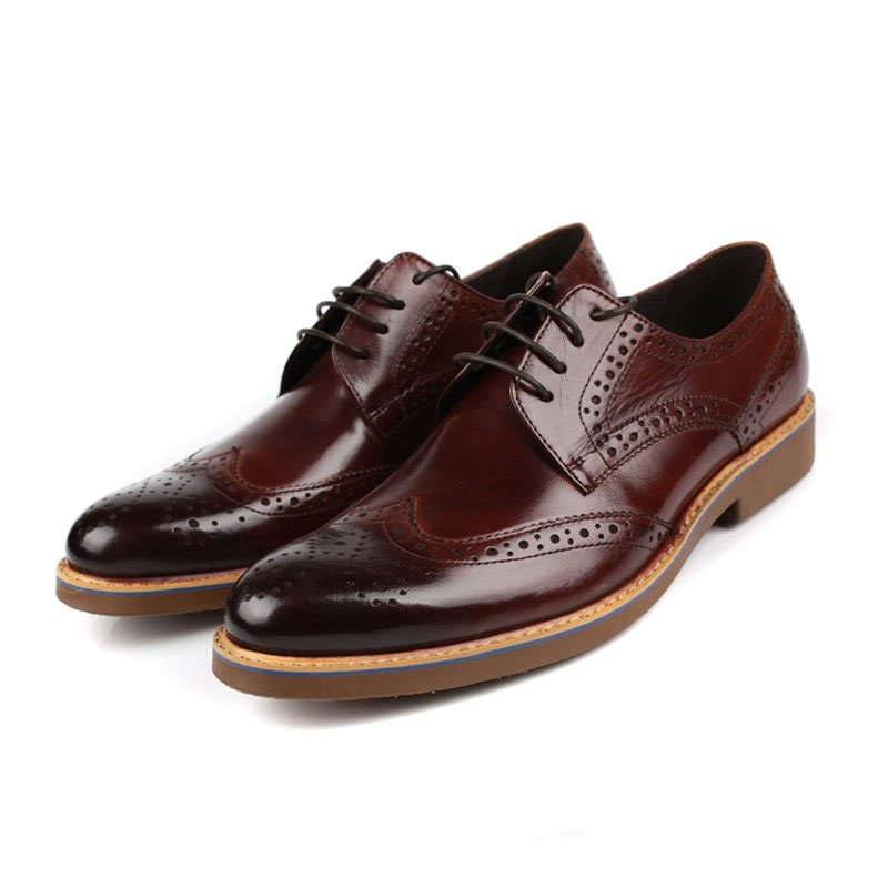 Men's Burgundy Chic Polished Leather Wingtip Brogues