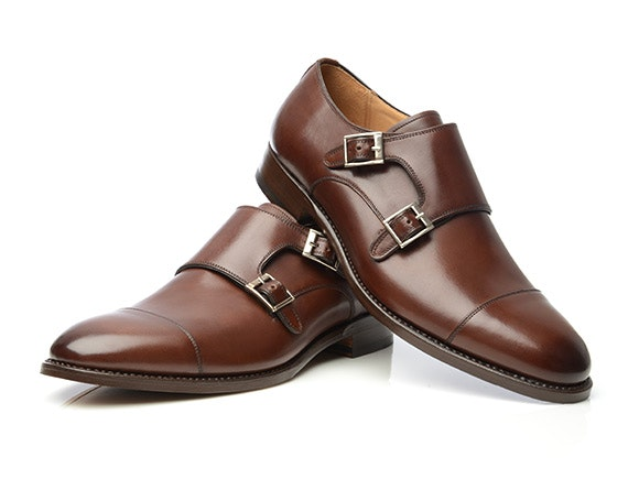 SHOEPASSION - Dark Brown Cap-Toe Monk Strap