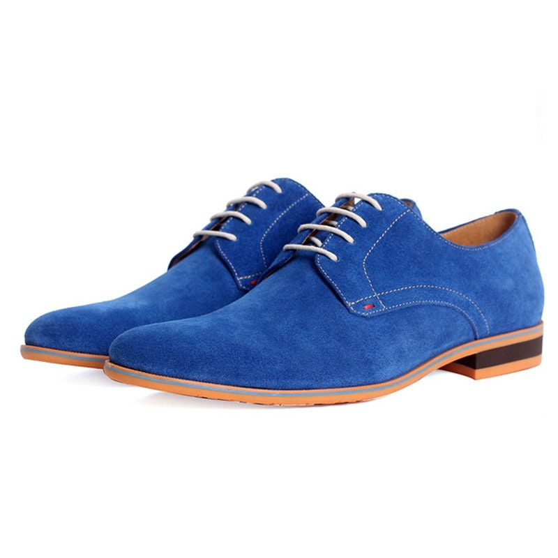 Contrast Sole Suede Derby Shoes For Men