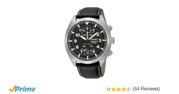 Amazon.com: Seiko SNN231P2 Chronograph Men's Black Dial Black Leather Strap Quar