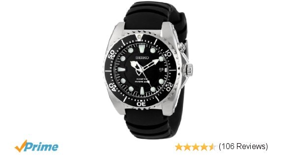 "Amazon.com: Seiko Men's SKA413 ""Adventure"" Stainless Steel Kinetic Diver Watch:"