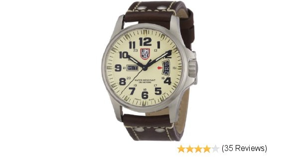 Luminox Field 42mm 1827 Ivory Dial Brown Leather Mens Watch: Luminox