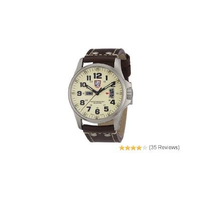 Luminox Field 42mm 1827 Ivory Dial Brown Leather Mens Watch: Luminox