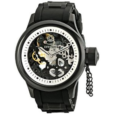 Invicta Men's 1091 Russian Diver Stainless Steel and Black Polyurethane Watch wi