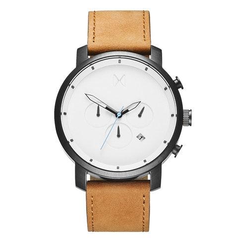Chrono White Black/Tan Leather                       MVMT Watches