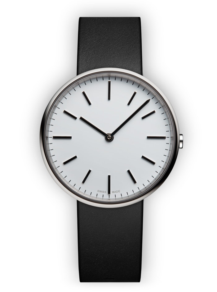UNIFORM WARES M37 Two-hand Watch in Polished Steel with Black Nappa Leather Stra