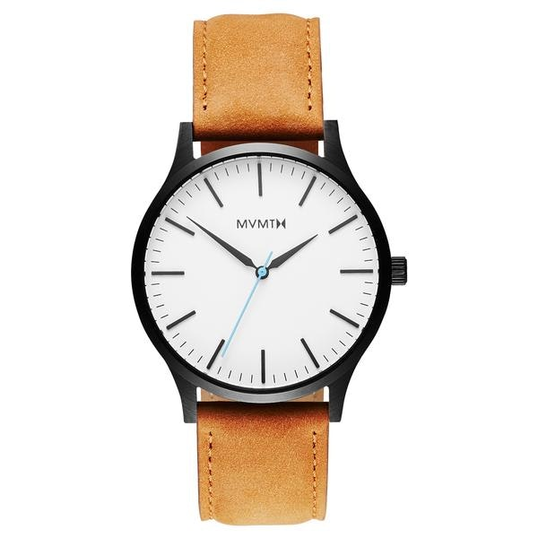 The 40 - White Black/Tan Leather – MVMT Watches