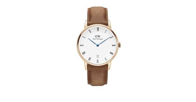 Amazon.com: Daniel Wellington DURHAM Dapper Rose Gold 34mm Watch Brown Leather A
