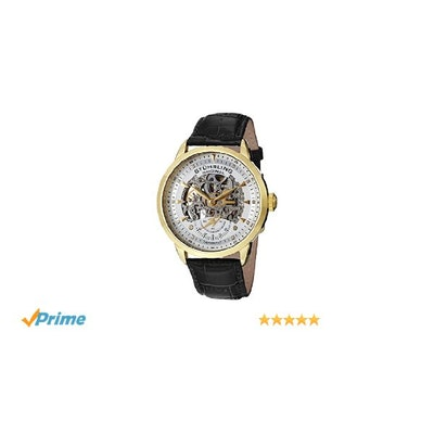 Stuhrling Original Men's Symphony Automatic Gold-Plated Black Leathe