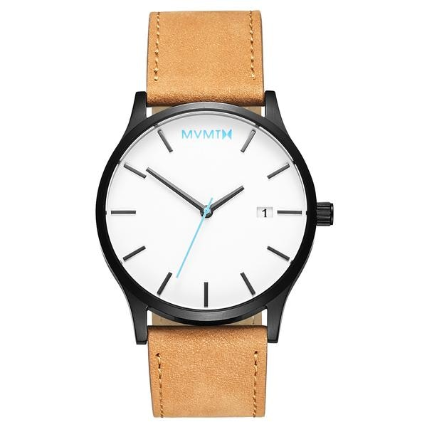 Classic White/Black Tan Leather – MVMT Watches
