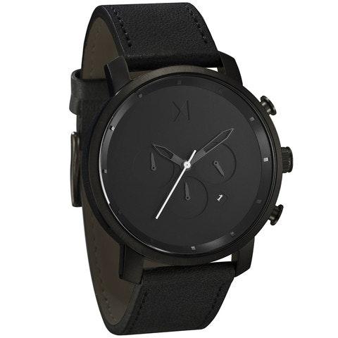 Chrono Black Leather                             MVMT Watches