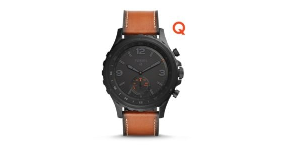 Fossil Q Nate Dark Brown Leather Hybrid Smartwatch - Fossil