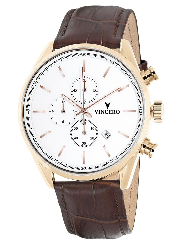 Men's Chronograph - White & Rose Gold Watch – Vincero Collective