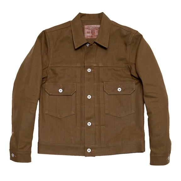 Oni Denim Heavy OX Jean Jacket Khaki Brown
