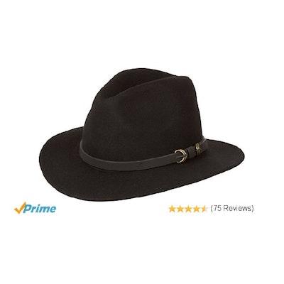 Sakkas 03EH Grant Western Style Wide Brim Wool Fedora - Black - M at Amazon  Men 73e2ed8b37d