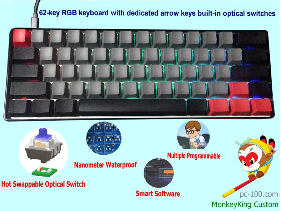62-key compact RGB mechanical keyboard with arrow keys, optical switches