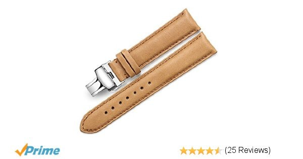 Amazon.com: iStrap 18mm Genuine Calf Leather Watch Band Padded Strap Steel Deplo