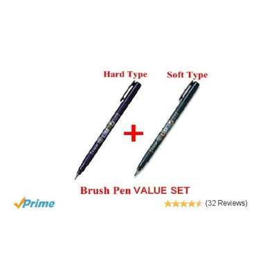 2Pacs X Tombow Fudenosuke Brush Pen / Soft Type & Hard Type (Each 2 Pens) / Tota