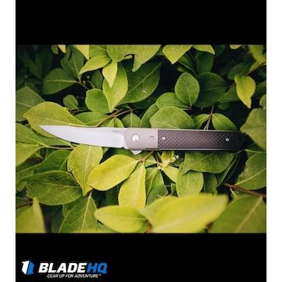 """Boker Kwaiken Tuxedo Flipper Knife Carbon Fiber w/Titanium Bolster (3.5"""" Satin)"""