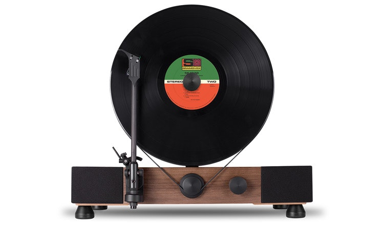 Vertical Turntable with Built-In Stereo Speakers – Gramovox