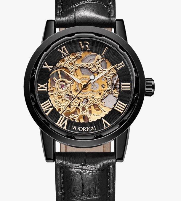 Black Men's Cheap Watch Gatsby, Leather Strap Waterproof 3ATM – Vodrich