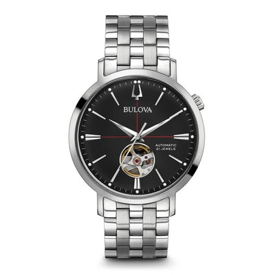 Bulova Stainless Steel Automatic Black Dial Classic