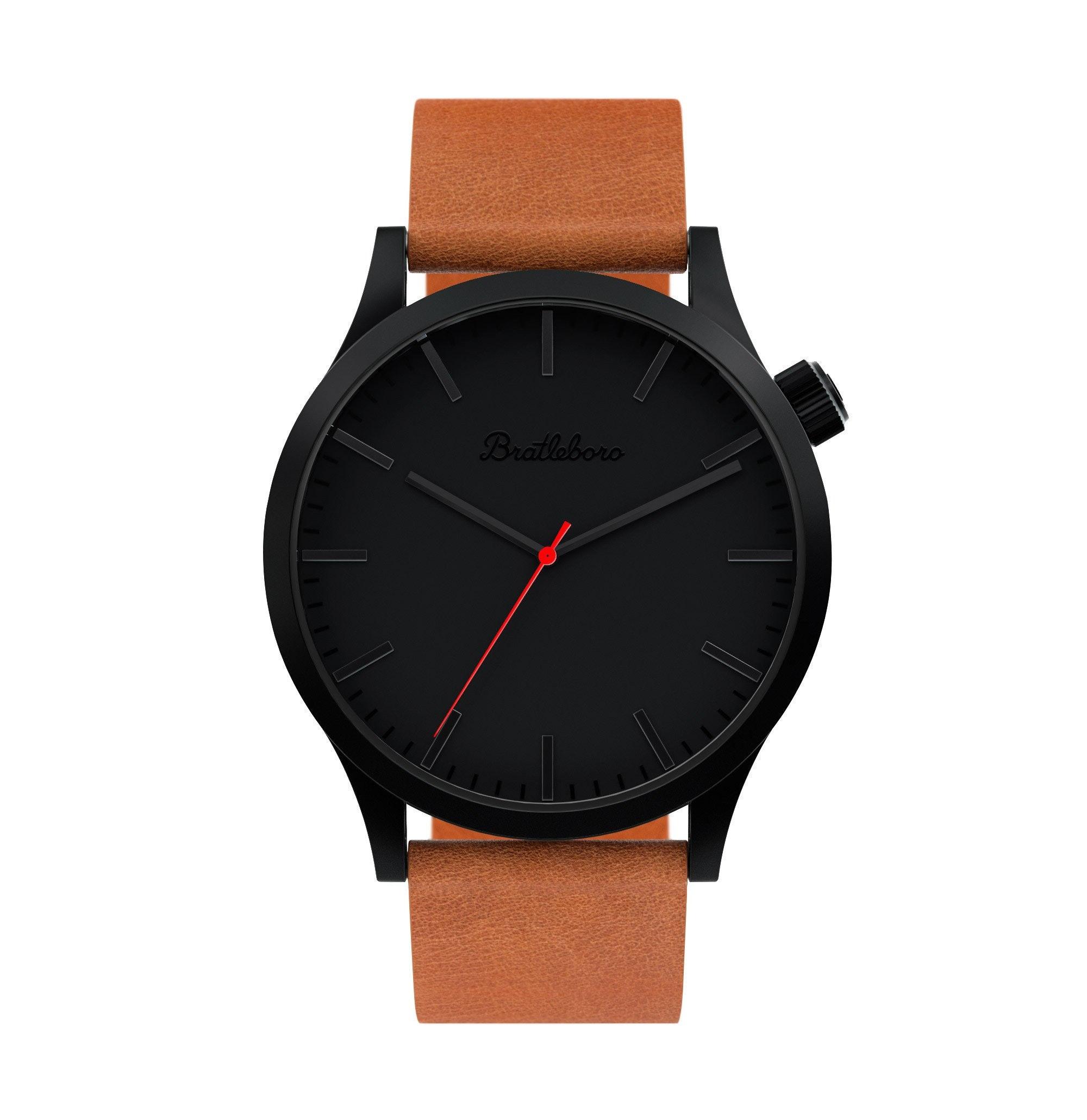 Reloj Hombre Bratleboro ORIGINAL con esfera negra y correa de piel