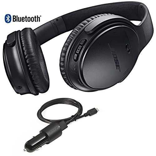 49b2a7b02a6 Bose QuietComfort 35 Bluetooth Wireless Noise Cancelling Headphones - Black  & Car Charger - Bundle