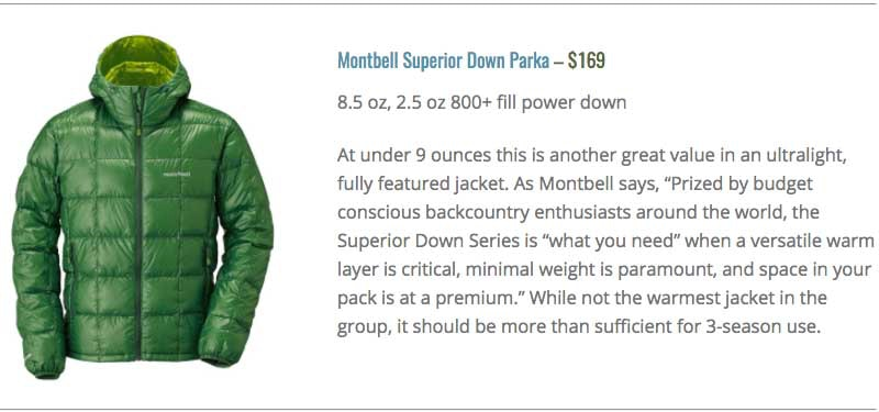 Montbell ultralight down guide parka