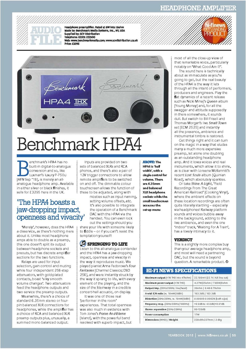 Benchmark HPA4 Review - Andrew Everard, HI-FI NEWS | Drop