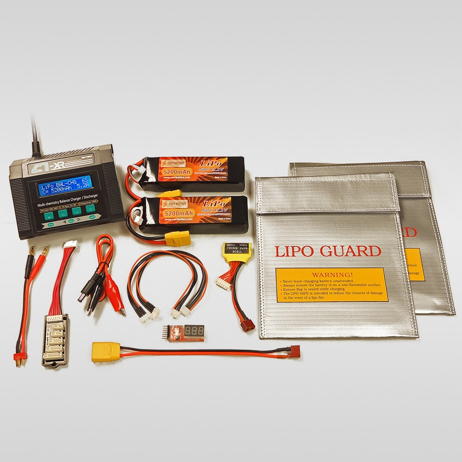 2 Vant 11.1V LiPo Batteries, Bag & Charger Bundle