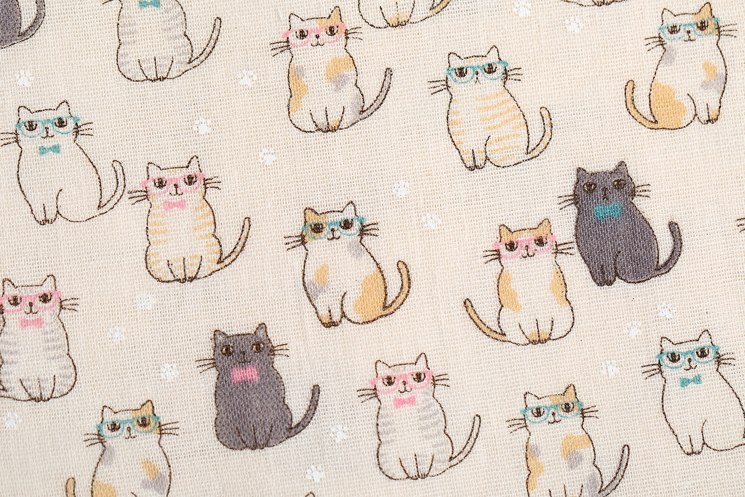 Hipster Cats Double Gauze