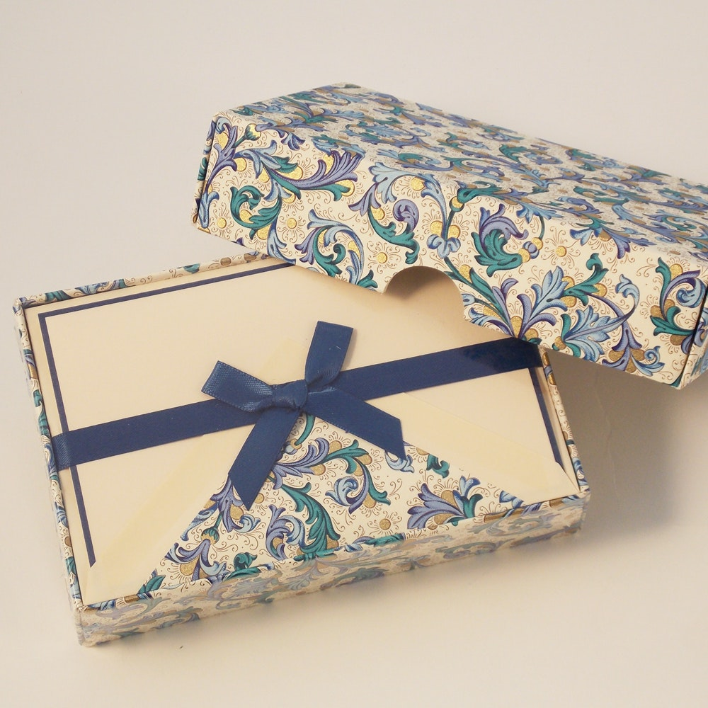 Traditional Blue Florentine - Blank Cards
